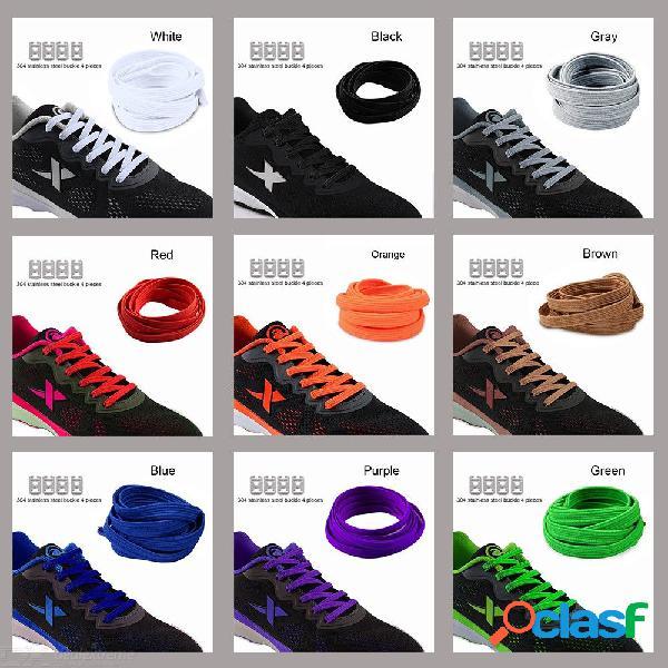 Estiramiento elástico con traba sin corbata cordones para los zapatos perezosos niños unisex goma elástica zapato plano cordón 1m