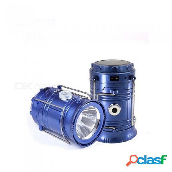 Lámpara led portátil portátil de la vendimia led luz que acampa linterna al aire libre linterna elástica linterna led solar para el viaje nocturno shell negro
