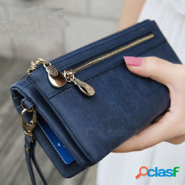 Nuevo diseño mujer pu cartera larga mujer cremallera billeteras monedero titular de la tarjeta multi-tarjeta bit moneda bolsa