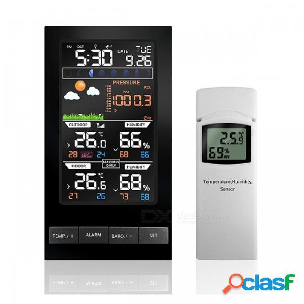 Temperatura humedad sensor inalámbrico estación meteorológica colorida pantalla lcd con barómetro pronóstico del tiempo tiempo de control de radio negro