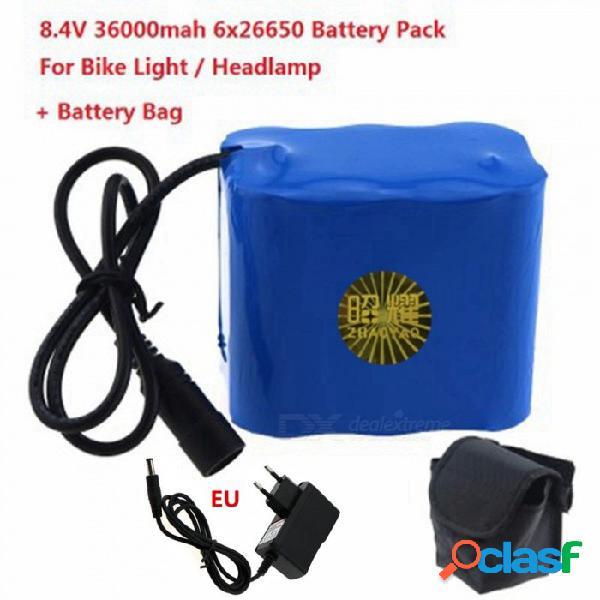 Batería recargable de alta capacidad 8.4v 6 x 26650 de zhaoyao con cargador de batería de la ue, bolsa mágica para faro de luz led para bicicleta