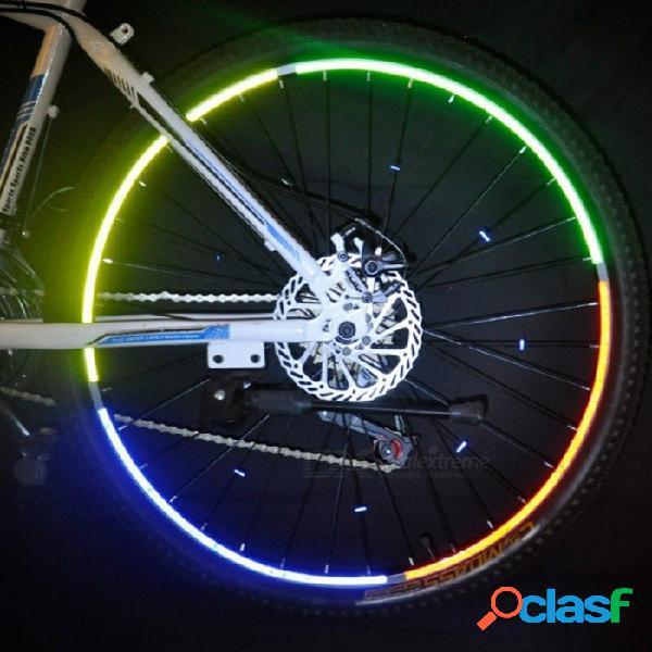 Cinta fluorescente bicicleta bicicleta motocicleta rueda neumático neumático etiqueta adhesiva reflectante tira de cinta para 26 pulgadas de neumático amarillo