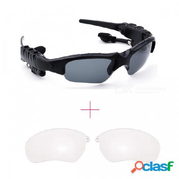 Deportes bluetooth inalámbrico estéreo auriculares auriculares auriculares gafas de sol para teléfonos móviles - blanco