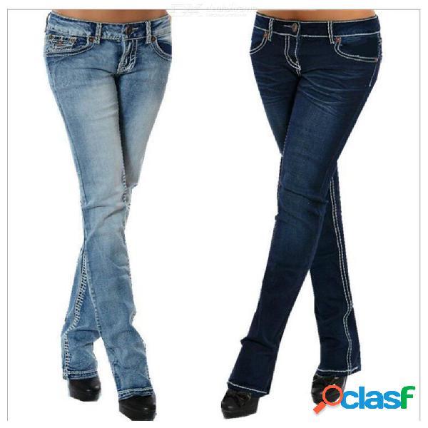 Pantalones vaqueros de las mujeres más el tamaño delgado estiramiento cintura baja azul vintage recto pantalones de mezclilla levantar pantalones de cadera