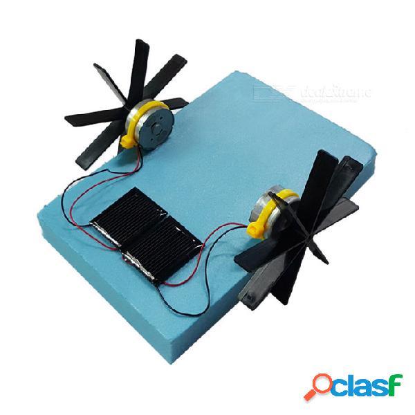 Solar powered asamblea de espuma paddle-rueda de barco diy kit juguetes educativos - negro + sky blue