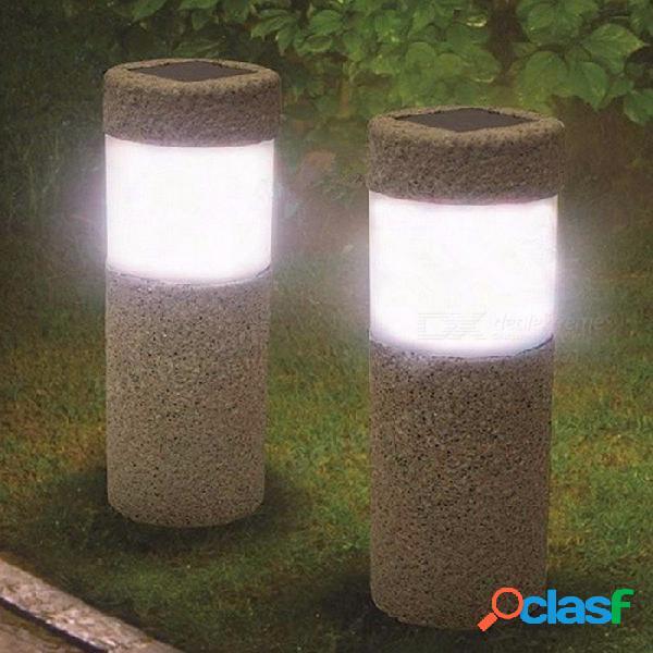 1 unid energía solar pilar de piedra w hite led luces solares exterior jardín luz de césped lámpara patio patio decoración lámpara 5w gris