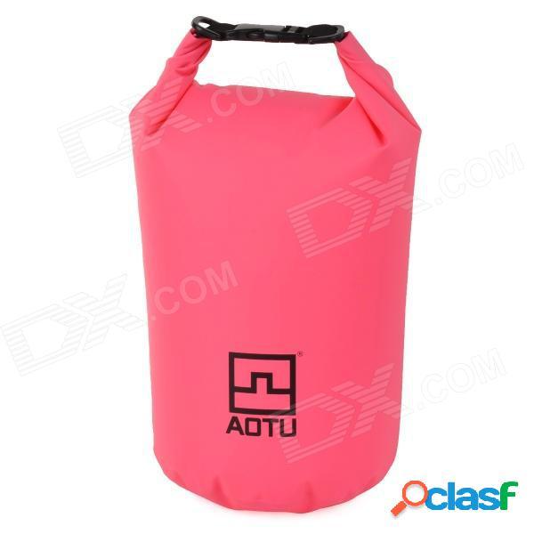 Aotu 801 bolsa de almacenamiento de ropa de pvc impermeable 500d a la deriva al aire libre - rosa (10l)