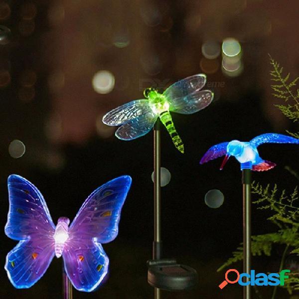 Energía solar que cambia de color led luz decorativa pájaro / libélula / mariposa estilo camino luz al aire libre jardín césped luz
