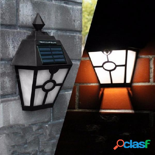 Luz blanca alimentada por energía solar luz led iluminación exterior sendero para jardín paisaje lámpara de cerca lámpara de pared lámpara de pared luz negra