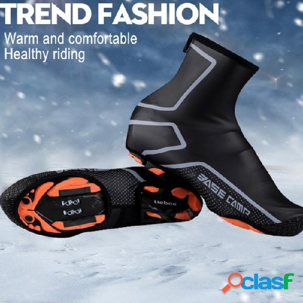 Montar ciclismo calzado deportivo cubierta térmica bicicleta de montaña impermeable a prueba de viento cálidos chanclos protector negro / m