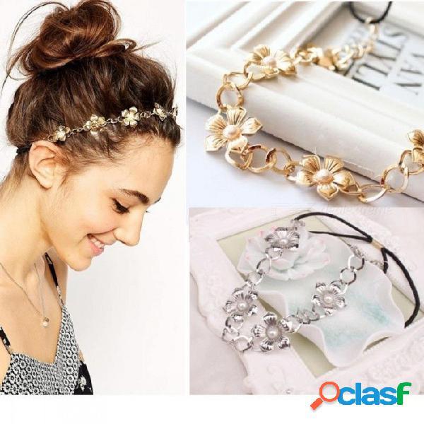 Mujeres de moda headwear cabeza de metal aleación de flores banda de pelo elástico de moda diadema accesorios para el cabello peso: 26 g de plata
