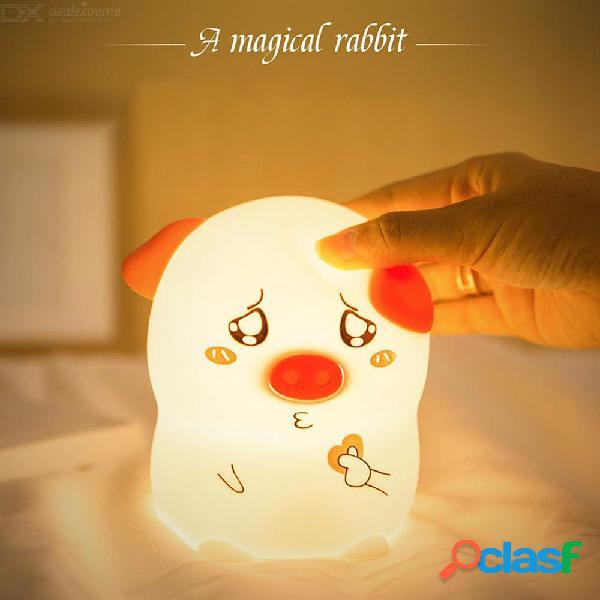 Noche de luces led lindo cerdo silicona lámpara de dibujos animados suave dormitorio atmósfera lámpara nocturna