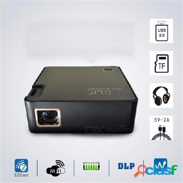 P2dlp mini wifi proyector portátil inalámbrico 1000 lúmenes led de cine en casa proyector bluetooth digital negro