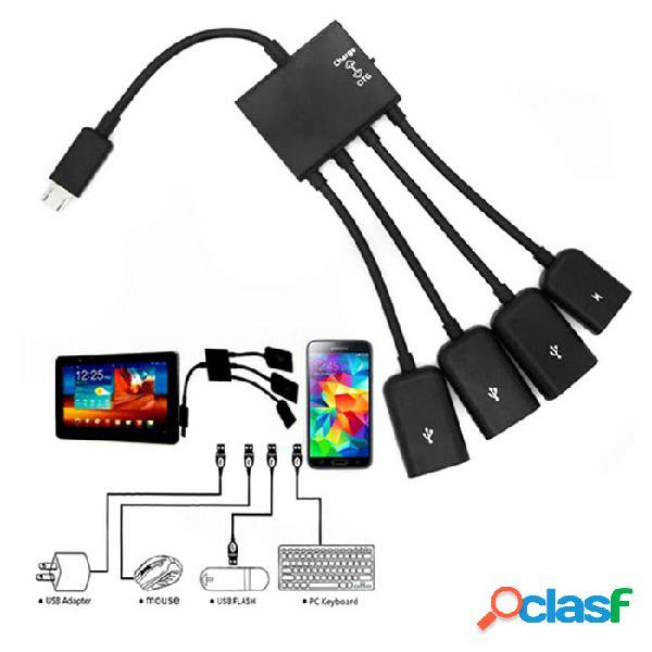 Bstuo 4 puertos de sincronización de datos micro usb cable de carga del adaptador del eje del poder otg