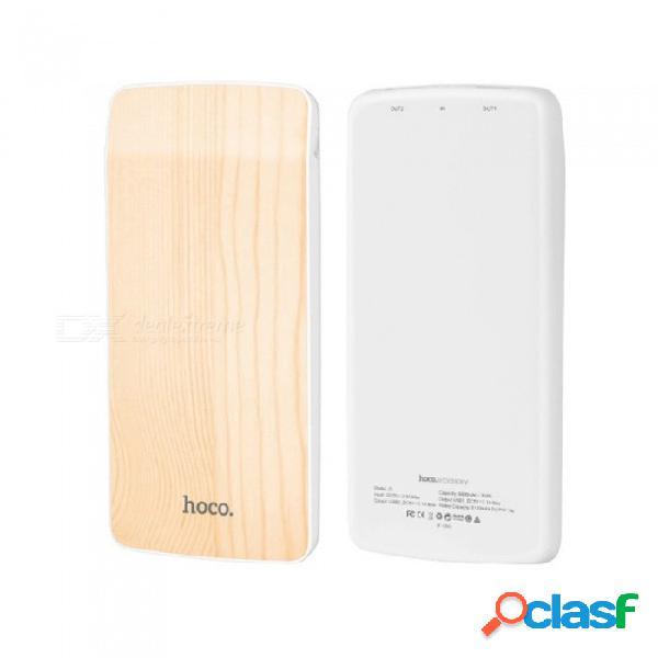 Hoco j5 nueva batería externa portátil de madera del banco del teléfono móvil del cargador usb doble 2.1a 8000mah amarillo