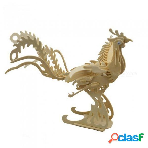 Juguetes de construcción modelo de madera phoenix rompecabezas 3d juguetes de rompecabezas diy phoenix modelo 3d juguetes para niños modelo animal phoenix 3d rompecabezas