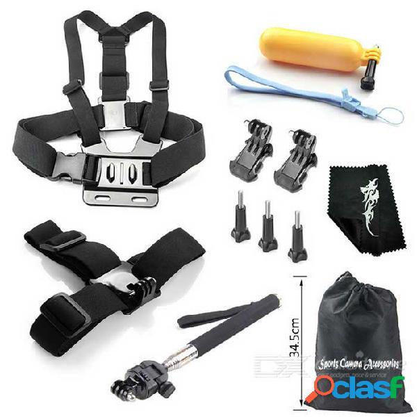 Kit de accesorios para cámara para deportes al aire libre 12 en 1 para gopro hero 1, 2, 3, 3+, 4, 4 sesión - negro