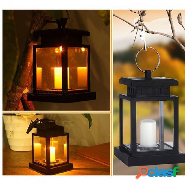 Lámpara de vela accionada por energía solar de estilo europeo, luz colgante de jardín para decoración
