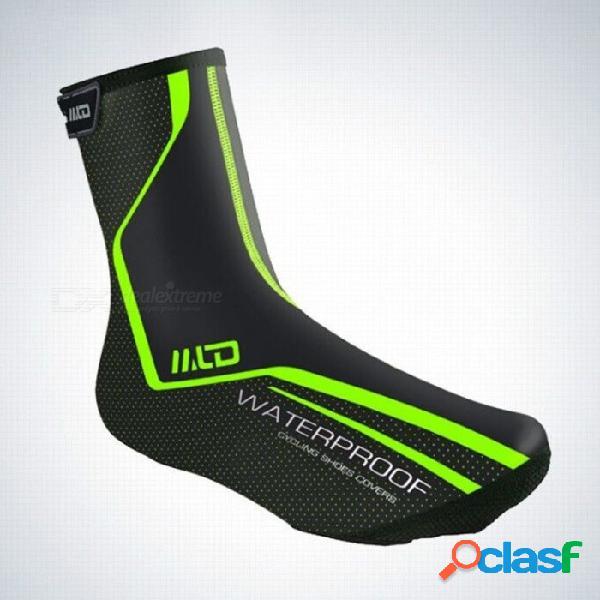 Montar ciclismo calzado deportivo cubierta mtb térmica impermeable a prueba de viento cálidos chanclos protector verde / m