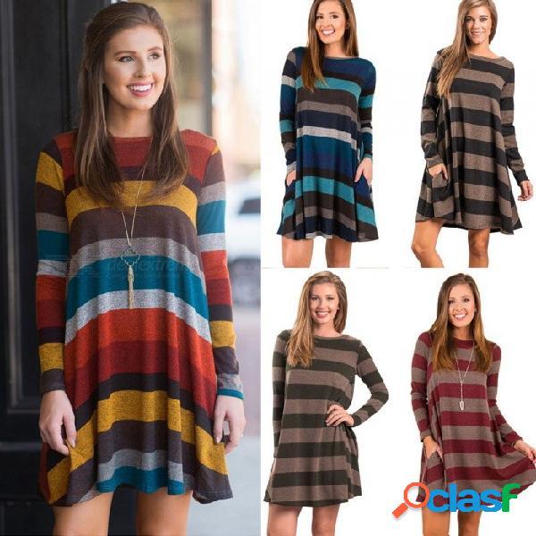 Vestido suelto de otoño con rayas, manga larga, hasta la rodilla, con o-cuello y bolsillos para mujeres am118 negro / s