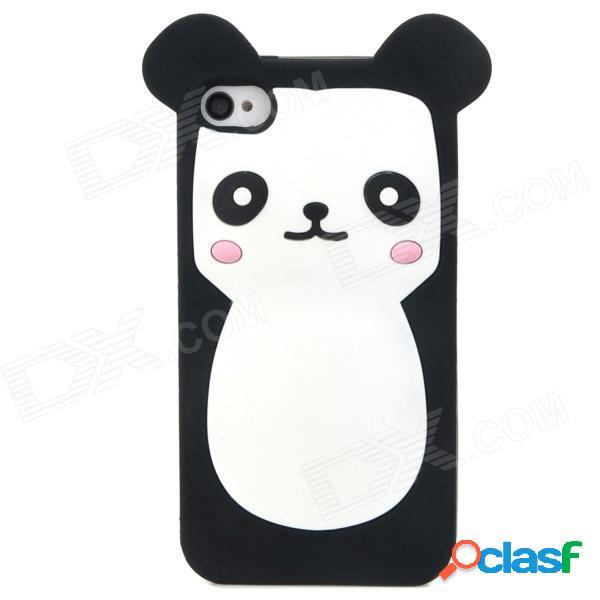 Funda protectora de silicona suave estilo oso de dibujos animados lindo para el iphone 4 / 4s - blanco + negro