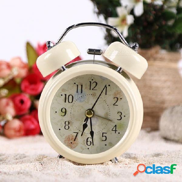Hogar retro vintage fresco despertador redondo número doble campana mesa de escritorio reloj digital decoración del hogar - blanco
