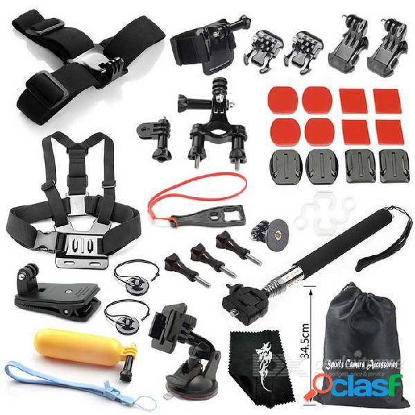 Kit de accesorios para cámara para deportes al aire libre 35 en 1 para gopro hero 1, 2, 3, 3+, 4, 4 sesión - negro