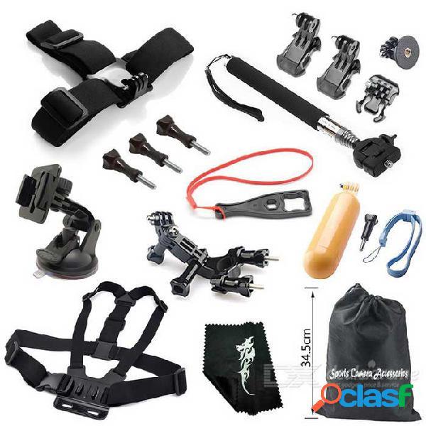 Kit de accesorios para cámaras de deportes en exteriores 16-en-1 para gopro hero 1, 2, 3, 3, 4, 4 sesiones - negro