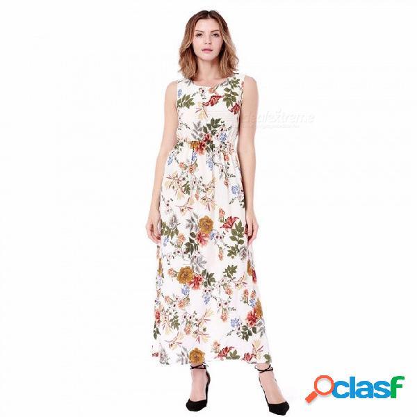 Las mujeres visten la moda del verano ocasional vestido vintage sin mangas de cintura alta jacquard vestidos de playa negro / s