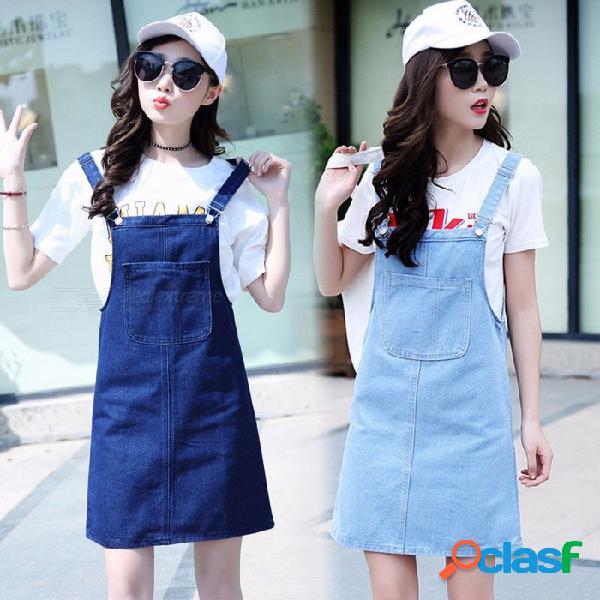 Verano de las mujeres vestido de mezclilla vestido de verano informal sueltos monos vestidos mujer sólido ajustable correa jeans vestido azul cielo / xl