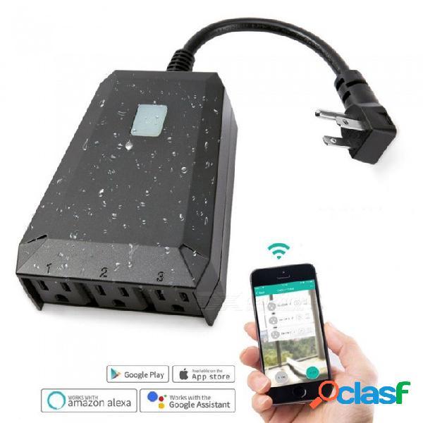 1 en 3 fuera de wifi wifi enchufe inteligente enchufe inalámbrico interruptor de control remoto ee. uu. enchufe de ee. uu. enchufe / negro