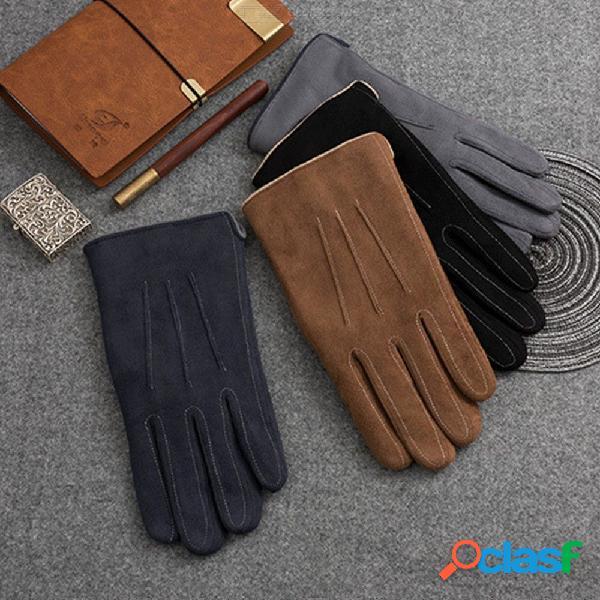 Cuero de gamuza sintética para hombres, guantes de ciclismo, otoño invierno, cálido, cinco mitones para los dedos