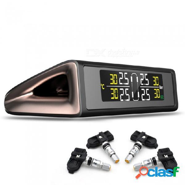 Junsun energía solar tpms sistema de monitor de presión de neumáticos pantalla inalámbrica de colores alarma de presión de neumáticos con 4 sensores incorporados