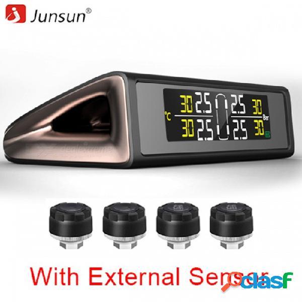 Junsun sistema de monitor de presión de neumáticos tpms de energía solar inalámbrico pantalla colorida alarma de presión de neumáticos con sensores externos 4