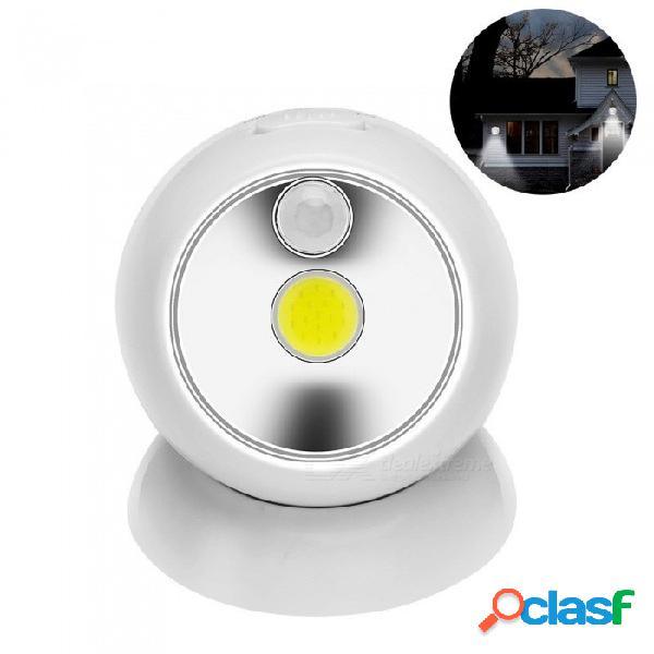 Luz de sensor de movimiento cob portátil, pequeña luz de noche led, mini lámpara de emergencia para el pasillo del dormitorio, garaje blanco / blanco