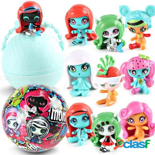 Mini juguete de la edición del animal doméstico del pvc de la bola de la demolición de la sorpresa de la muñeca del monstruo de la mini escuela secundaria
