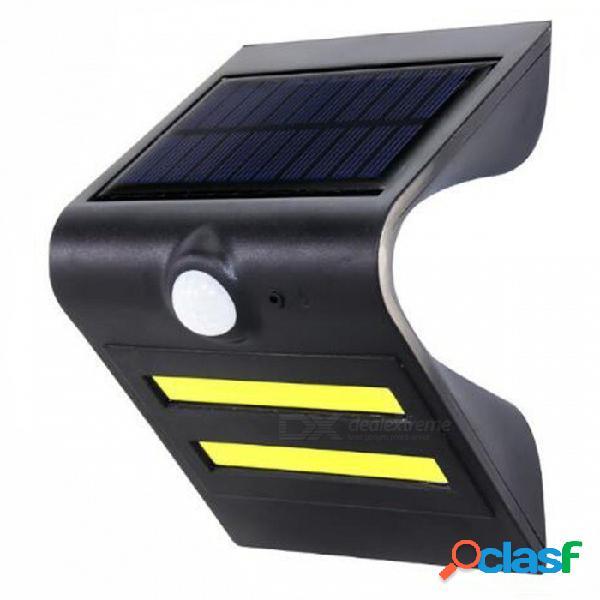 P-top 3.7v 150lm con energía solar, sensor de movimiento pir, luz para pared exterior para patio de jardín - negro
