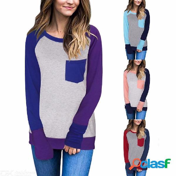 Top de remiendo de manga larga con cuello redondo para mujer am104, camiseta slim fit casual en contraste para mujer