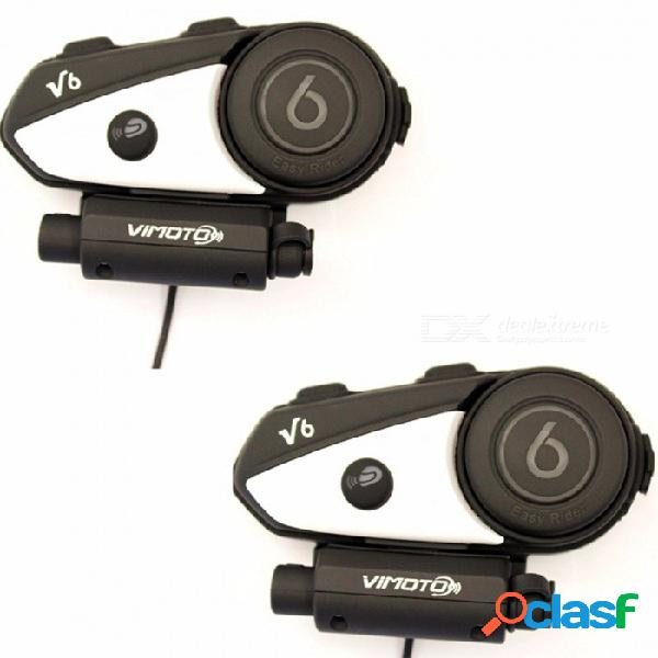 Vimoto versión en inglés easy rider 2pcs v6 multifunción 2way radio bt interphone motocicleta casco bluetooth auricular de intercomunicación 2pcs-v6