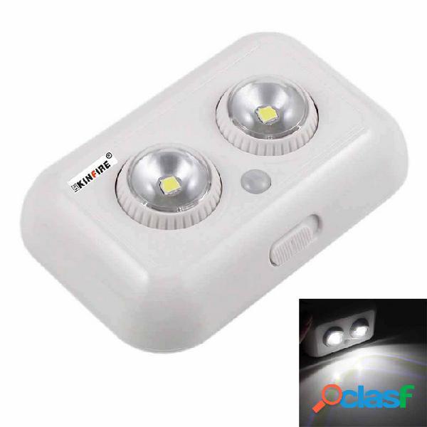 1w 80lm 6000k luz blanca sensor de luz led 360 ° giratorio de doble cabezal pir auto led de luz (dc 4.5v)