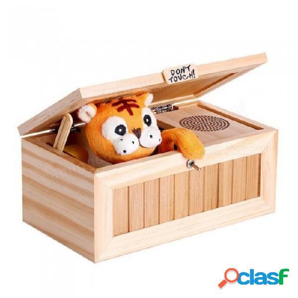 Caja electrónica de madera inútil con sonido lindo tigre 10 modos divertido juguete regalo reducción de estrés escritorio decoración de madera