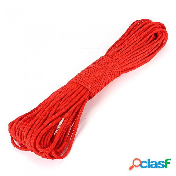 Ctsmart súper resistente 31 metros 550 libras cuerda atada para escalada al aire libre para acampar, cuerda con paraguas de siete núcleos - rojo