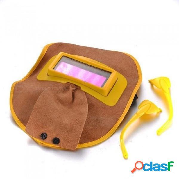 Portátil de cuero solar auto oscurecimiento filtro lente de la capilla máscara de soldadura máscara de soldador de ojos máscara de cuero gafas de soldador amarillo