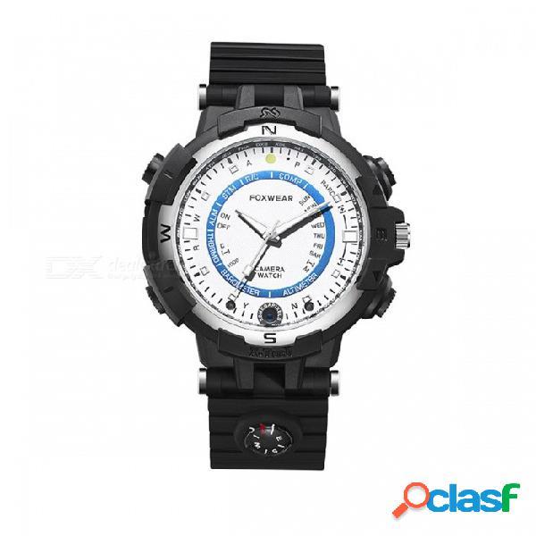 Fox8 ip65 resistente al agua wi-fi app control led reloj inteligente con hd 264 ir night vision, 32 gb de memoria - blanco