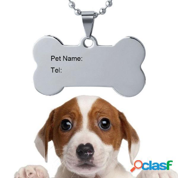 Grabar logo identificación etiqueta acero inoxidable perro mascota id nombre tel etiqueta láser collar