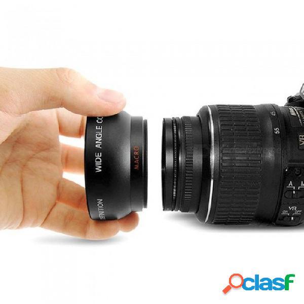 Hd 52mm 0.45x lente gran angular con lente macro para canon nikon sony pentax 52mm cámara dslr lente de enfoque fijo negro