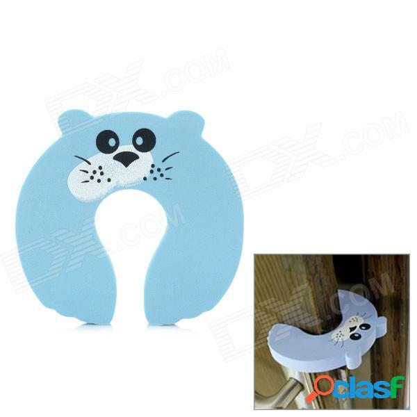Protector de pellizco de dedo de tapón de puerta de seguridad de bebé de dibujos animados lindo - azul claro