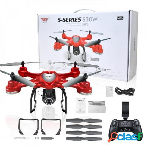 S30w doble gps dinámico sigue wifi fpv con 720p cámara gran angular rc drone quadcopter racing vs mjx bugs6 rojo