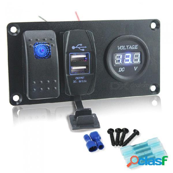Cambio automático de combinación de panel de interruptores de auto auto + cargador de coche usb + voltímetro digital para barco / autobús