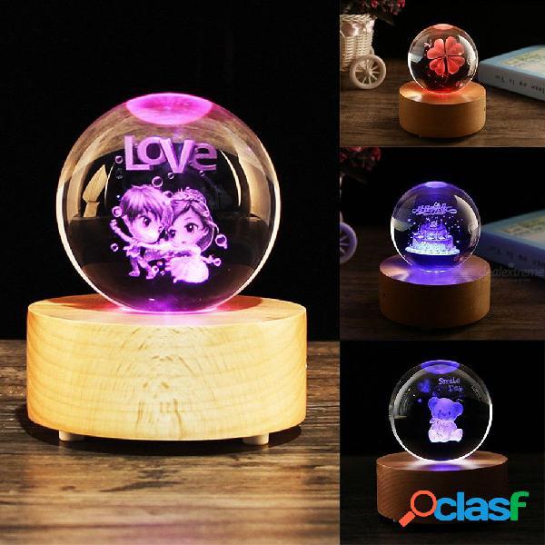 Efecto de luz cambiable san valentín bola de cristal musical luz regalo personalizado amantes románticos san valentín